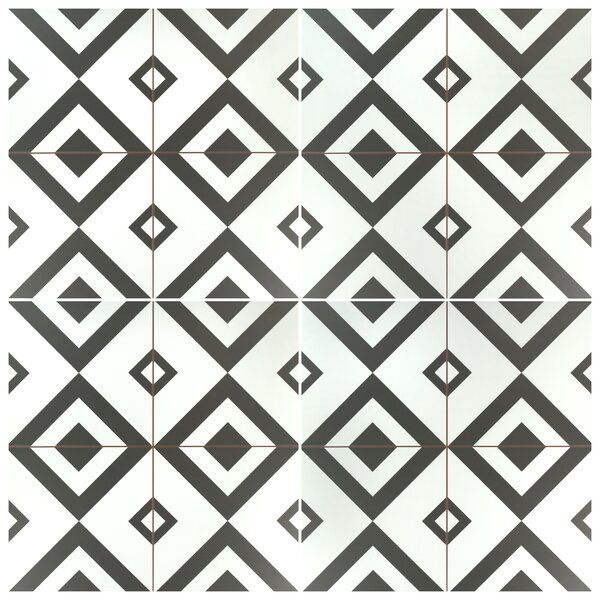 Charing 17.63 x 17.63 Ceramic Field Tile in Black/White by EliteTile
