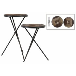 Corla Round 2 Piece End Table Set with..