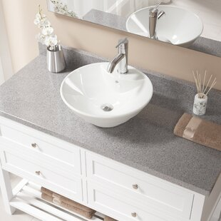 Vitreous China Circular Vessel Bathroom Sink with Faucet and Overflow ByMR Direct