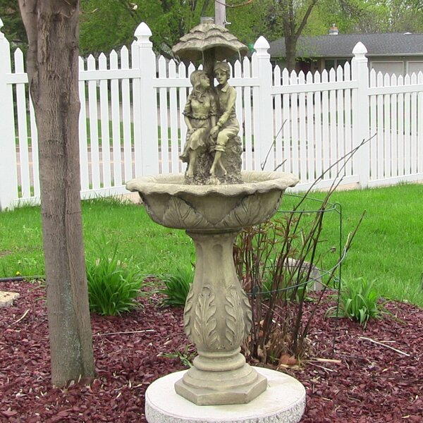 Duquette Fiberglass/Resin Solar Lovers Umbrella on Demand Outdoor Water Fountain with LED Light by Astoria Grand
