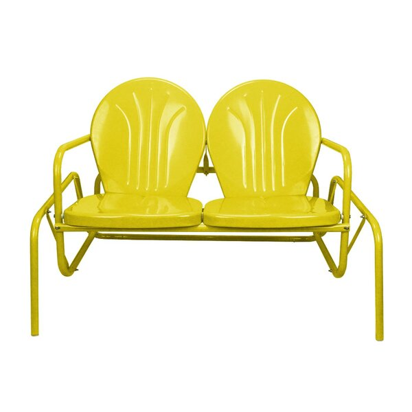Mervin Retro Metal Tulip Outdoor Double Glider Chair by Ivy Bronx