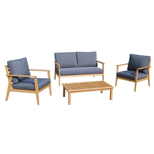 Lumpkin 4 Piece Sofa Seating Group with Cushions by Rosecliff Heights