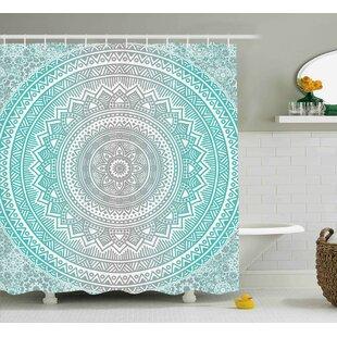 Newburyport Grey and Aqua Ombre Traditional Universe Symbol With Tribal Geometric Mandala Zen Artwork Shower Curtain ByBungalow Rose