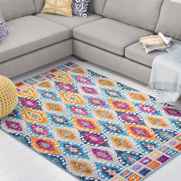 Shortwood Pink/Blue Indoor Area Rug by Viv + Rae