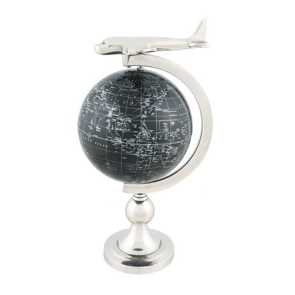 Decorative Airplane on Globe with Brass Stand by Old Modern Handicrafts