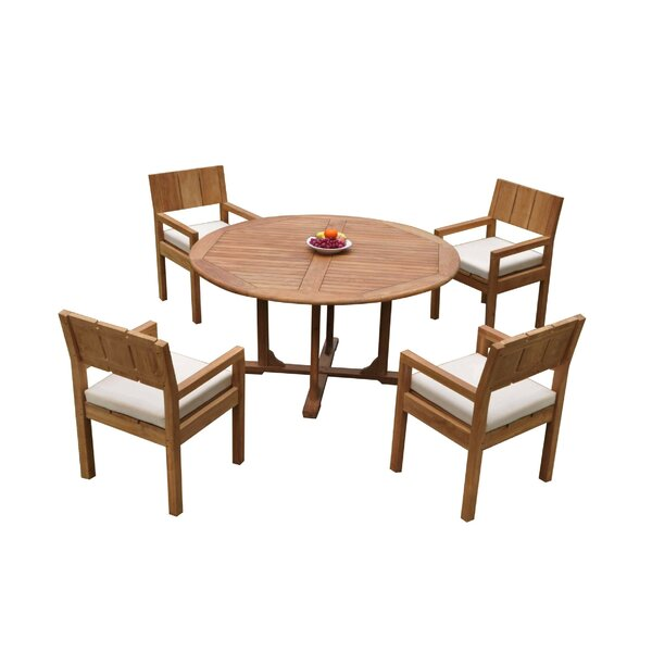 Oneybrook 5 Piece Teak Dining Set by Rosecliff Heights
