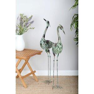 2 Piece Crane Sculpture Set