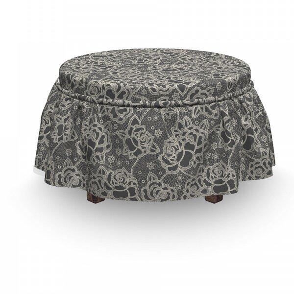 Vintage Romantic Rose Motifs 2 Piece Box Cushion Ottoman Slipcover Set By East Urban Home