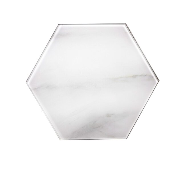 Nature 8 x 8 Glass Hexagon Tile in Calacatta White/Gray Veins by Abolos