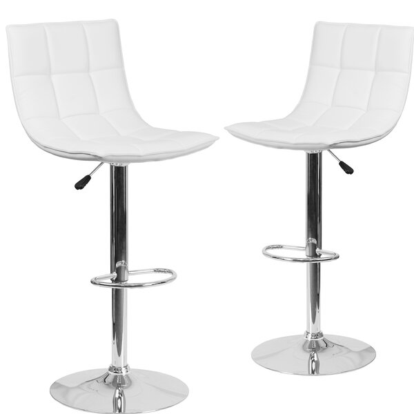 Nicarete Adjustable Height Swivel Bar Stool (Set of 2) by Orren Ellis| @ $280.81