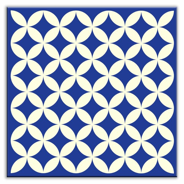 Folksy Love 4-1/4 x 4-1/4 Satin  Decorative Tile in Needle Point Blue by Oscar & Izzy