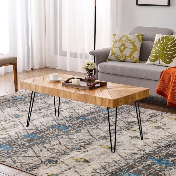 Modern Hairpin Legs Design Wooden Coffee Table by Harper&Bright Designs Harper&Bright Designs