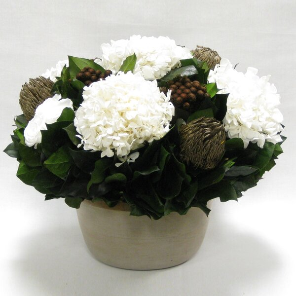 Mixed Floral Arrangement in Small Wooden Round Container by One Allium Way