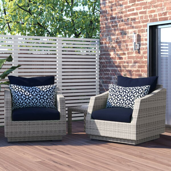 Castelli 3 Piece Rattan Seating Group with Cushions by Wade Logan Wade Logan