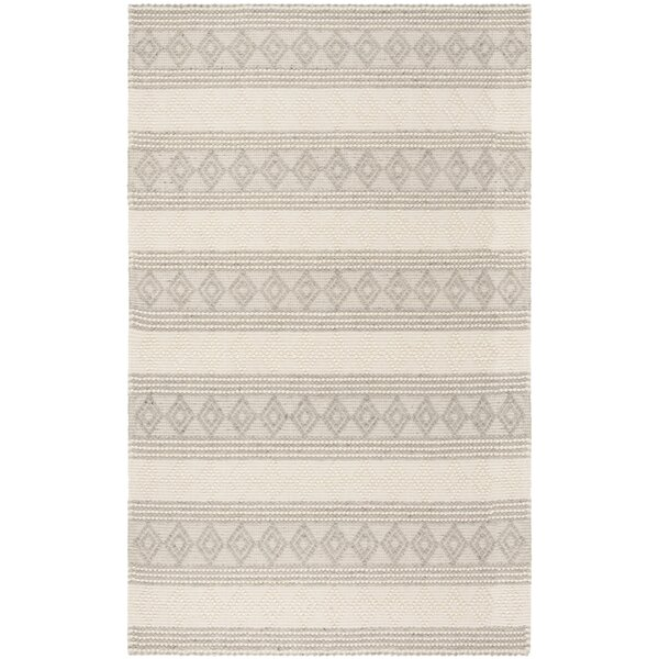 Diara Natural Hand Woven Wool Cotton Gray Ivory Area Rug By Gracie Oaks.