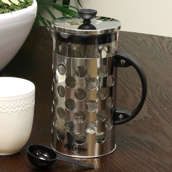 4-Cup Mr Coffee Polka Dot Brew French Press Coffee Maker with Scoop by Gibson
