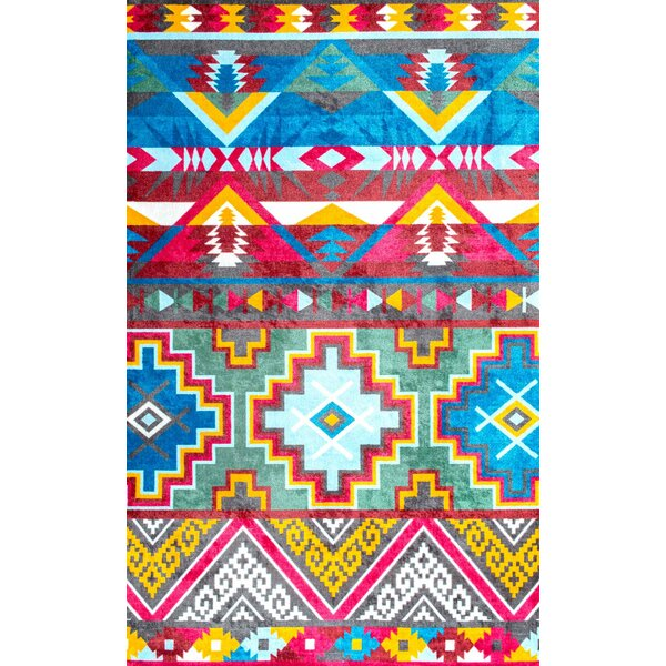 Bouldin Creek Hand-Tufted Pink/Blue Area Rug by Wrought Studio