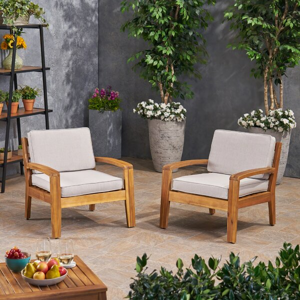 Smiley Patio Acacia Wood Patio Chair with Sunbrella Cushions (Set of 2) by Rosecliff Heights