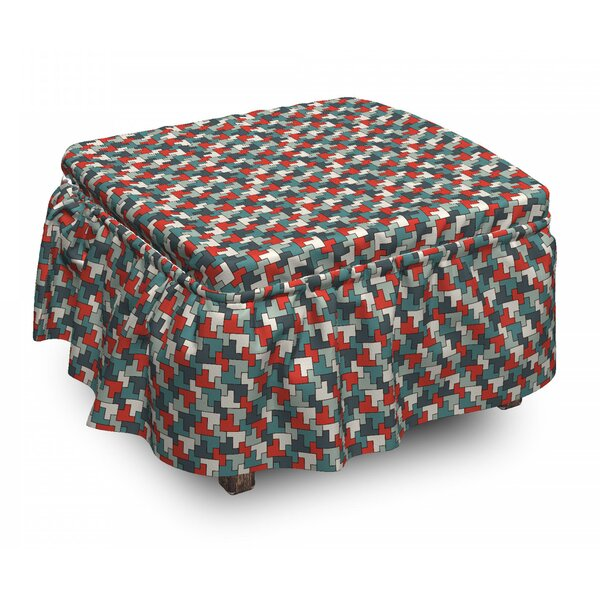 Abstract Simple Puzzle Mosaic 2 Piece Box Cushion Ottoman Slipcover Set By East Urban Home