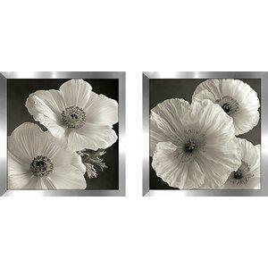 Poppy Study IV' 2 Piece Framed Photographic Print Set Under Glass by Rosdorf Park
