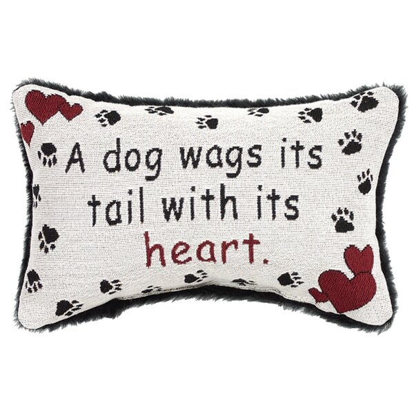 A Dog Wags His Tail with His Heart Word Lumbar Pillow by Manual Woodworkers & Weavers