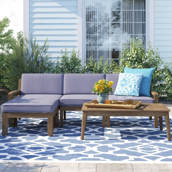 Laverty 4 Piece Sectional Seating Group with Cushion by Sol 72 Outdoor