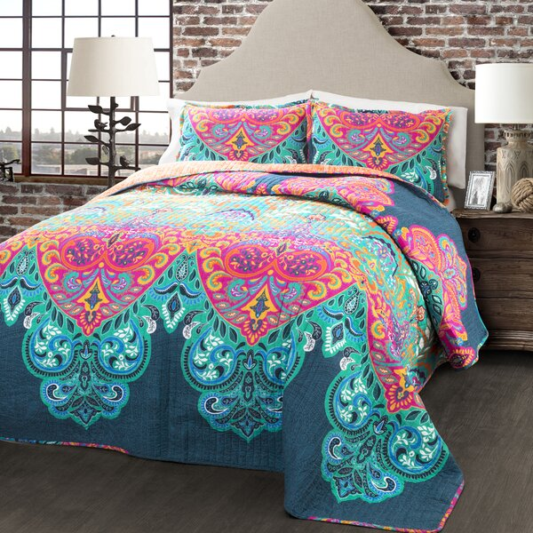 Galleria 3 Piece Damask Reversible Quilt Set by World Menagerie