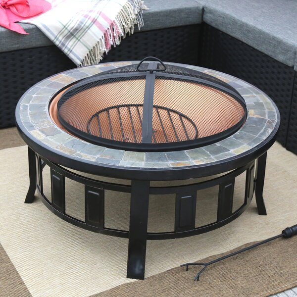 Steel Wood Burning Fire Pit Table by Baner Garden