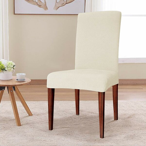 Elegant Knitting Box Cushion Dining Chair Slipcover by Winston Porter