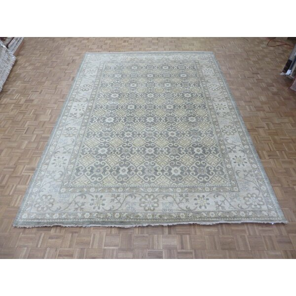 One-of-a-Kind Pafford Oushak Peshawar Hand-Knotted Gray Area Rug by Bloomsbury Market