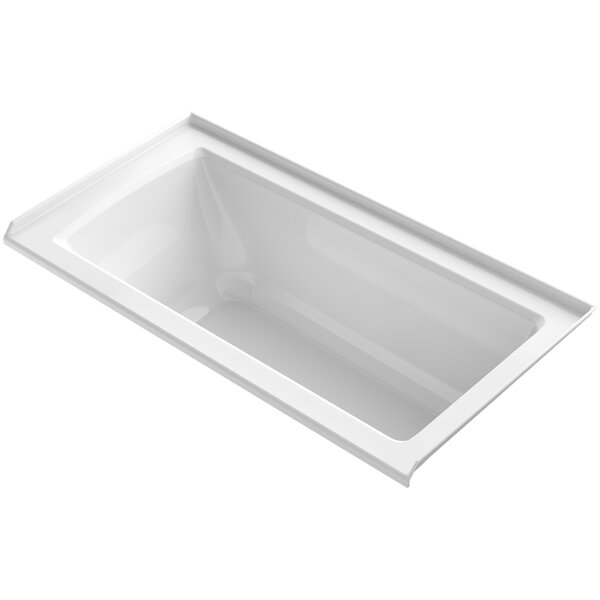 Archer VibrAcoustic® Three-Wall Alcove Bath with Bask™ Heated Surface, Tile Flange and Right-Hand Drain by Kohler