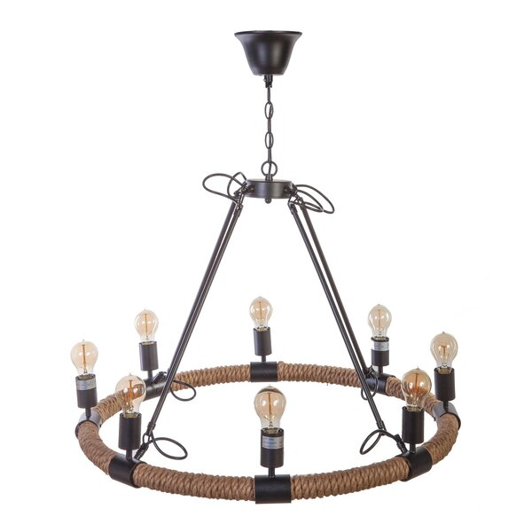 8 - Light Unique / Statement Wagon Wheel Chandelier With Rope Accents By DCOR Design