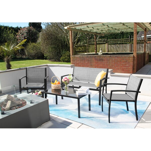 Heneman Outdoor 4 Piece Sofa Seating Group With Cushions By Ebern Designs by Ebern Designs Today Only Sale