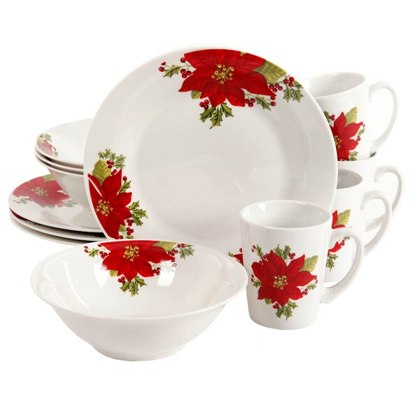 Driscoll Poinsettia 12 Piece Dinnerware Set, Service for 4 by The Holiday Aisle