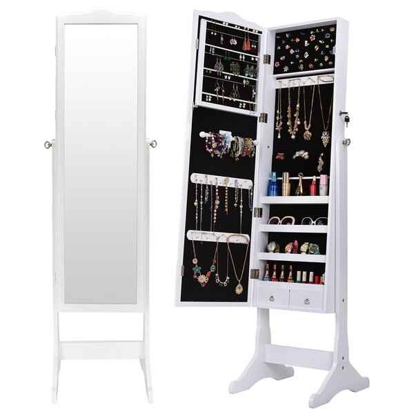 Gimbya Free Standing Jewelry Armoire with Mirror by Latitude Run Latitude Run