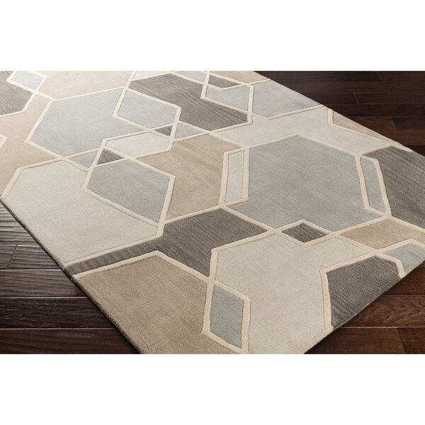 Vaughan Hand-Tufted Green/Neutral Area Rug by Wrought Studio