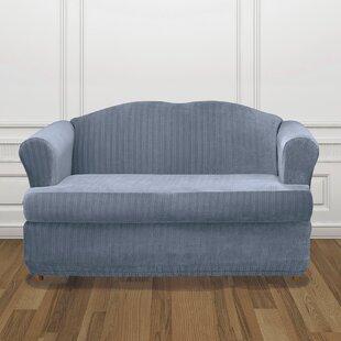 Stretch Pinstripe T-Cushion Sofa Slipcover