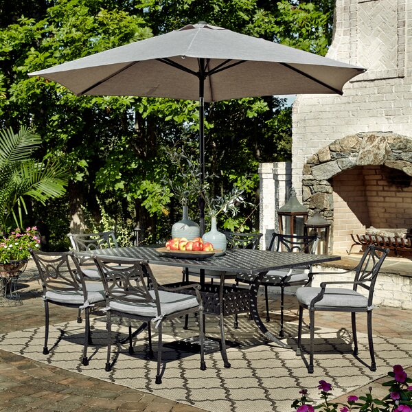 Flagg Cast Aluminum Outdoor 8 Piece Dining Set with Cushions by Darby Home Co