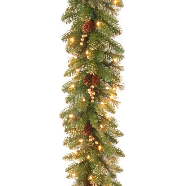 6 Foot glittery Pre-Lit Faux Pine Garland by Willa Arlo Interiors