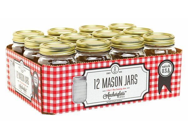 Regular Mouth Canning 16 oz. Glass Mason Jar (Set of 12) by Anchor Hocking