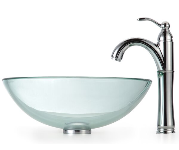 Clear Glass Glass Circular Vessel Bathroom Sink with Faucet by Kraus