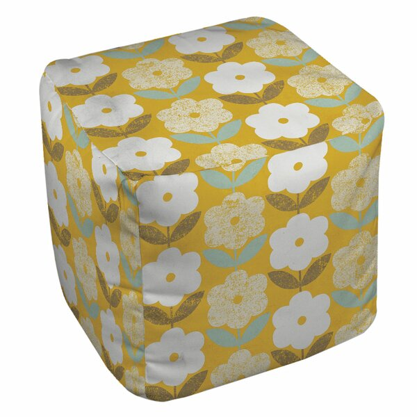 Jar of Sunshine Vintage Blossoms Pouf by Manual Woodworkers & Weavers
