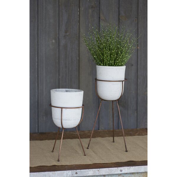 Feeney 2-Piece Washed Clay Pot Planter on Base by Wrought Studio