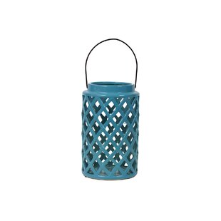 Ceramic Lantern with Handle Gloss Steel Blue By Urban Trends Outdoor Lighting