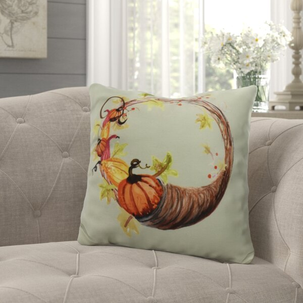 Bigner Cornicopia Wreath Fall Outdoor Throw Pillow by August Grove