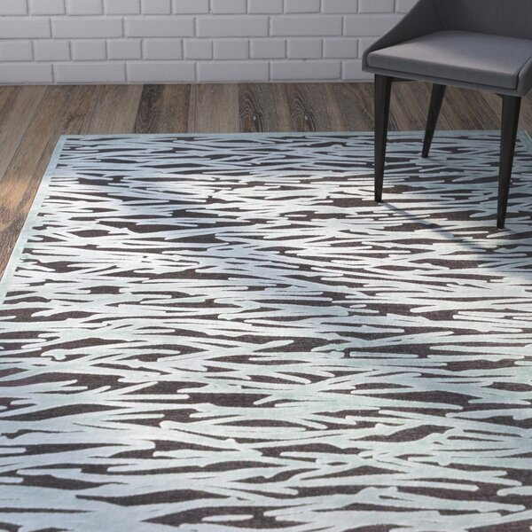 Serena Dark Gray/Teal Area Rug by Brayden Studio
