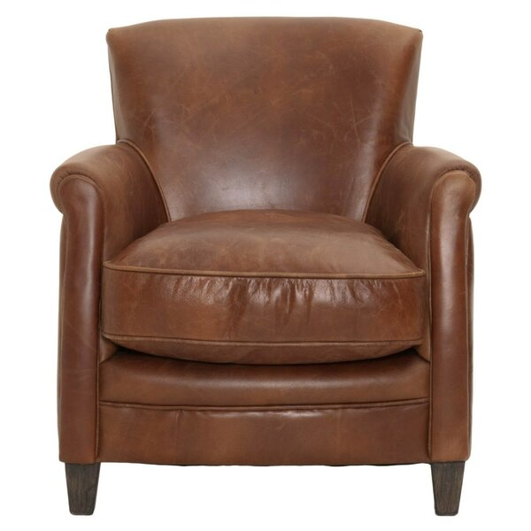 Mcintosh Leather Upholstered with Wooden Legs Club Chair by Canora Grey