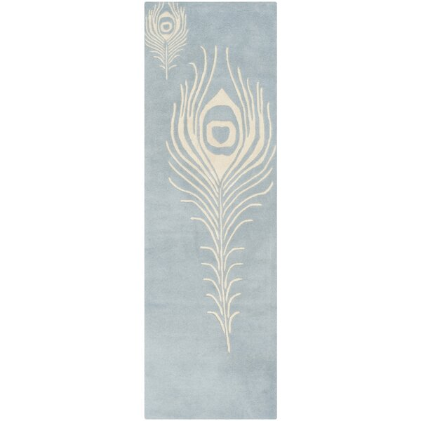 Dorthy Light Blue / Ivory Contemporary Rug by Bloomsbury Market