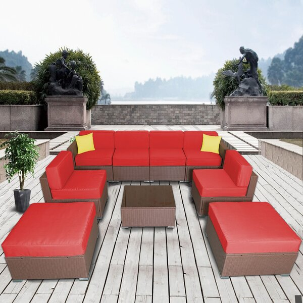 Meyerson Patio 9 Piece Rattan Sectional Seating Group with Cushions by Latitude Run