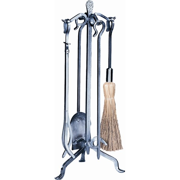 4 Piece Pewter Crooked Fireplace Tool Set With Stand by Uniflame Corporation